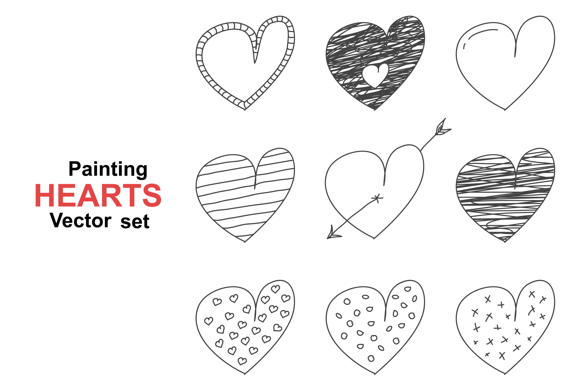 Set of hand drawn painting hearts. example image 1