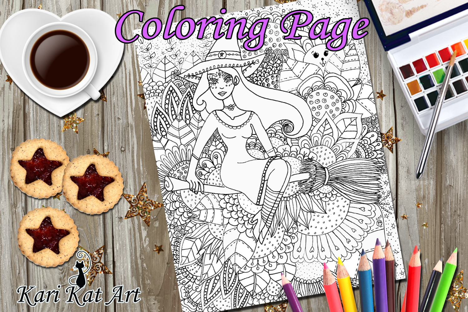 Floral witch, Printable coloring page, Digital Stamp, magici example image 1