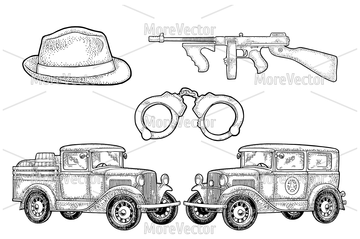 Retro police car sedan with sheriff star and pickup truck with wood barrel example image 2