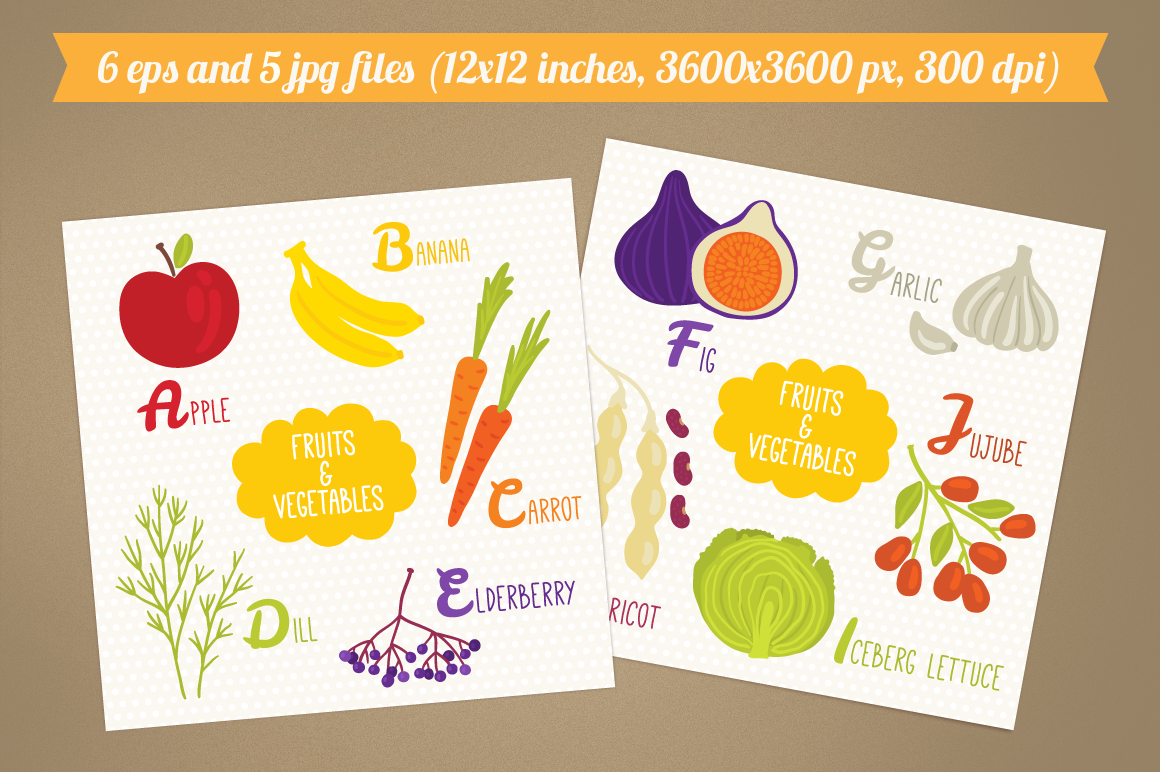 Alphabet with Fruits and Vegetables example image 2