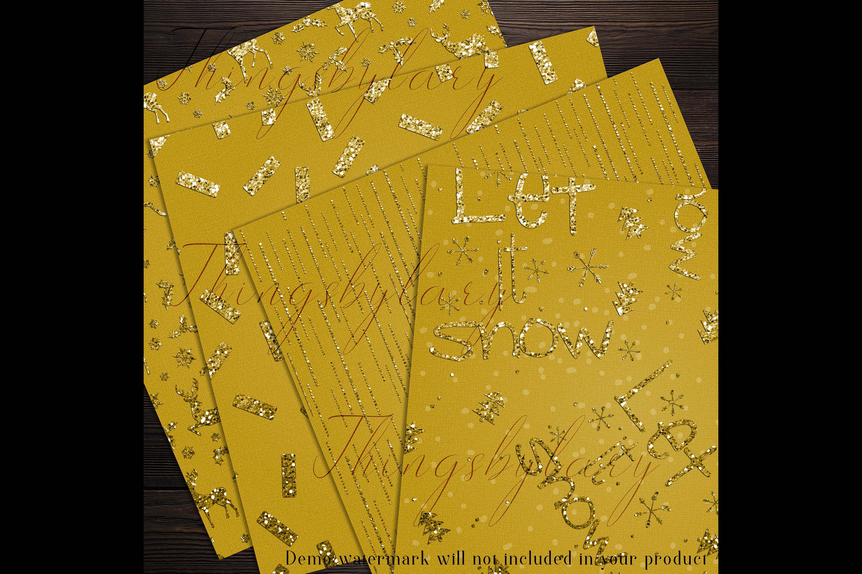 16 Gold Glitter Christmas Printable Digital Papers 12 inch example image 4