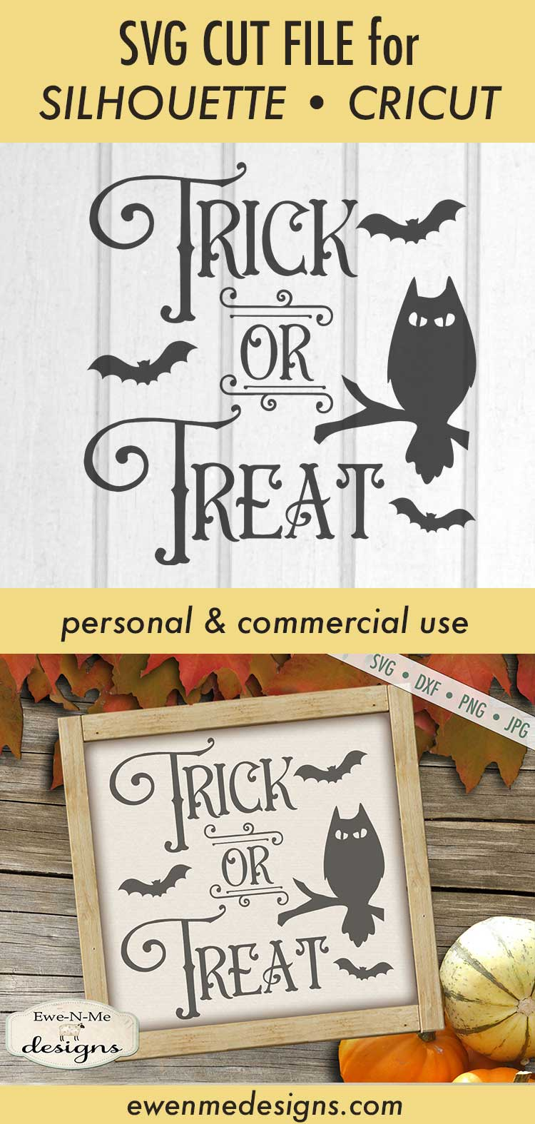 Trick or Treat - Halloween - Owl Bats - SVG DXF Files example image 3