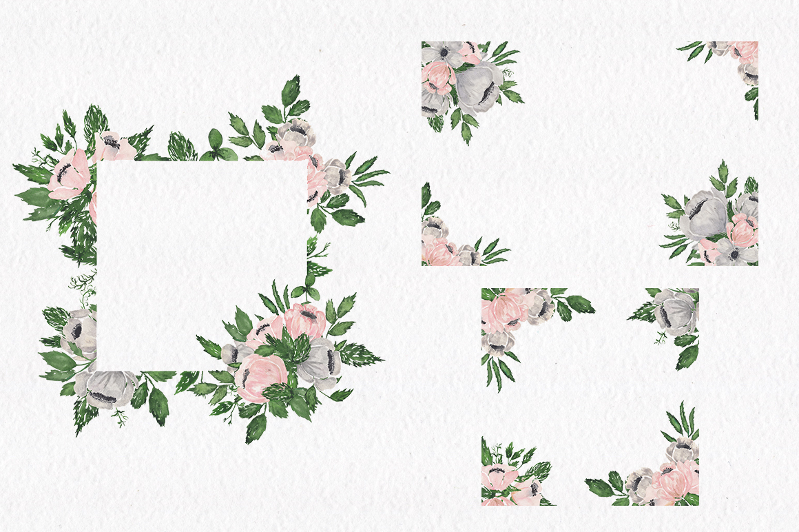 Gray and Pink Blooming. Watercolour clipart collection. example image 9