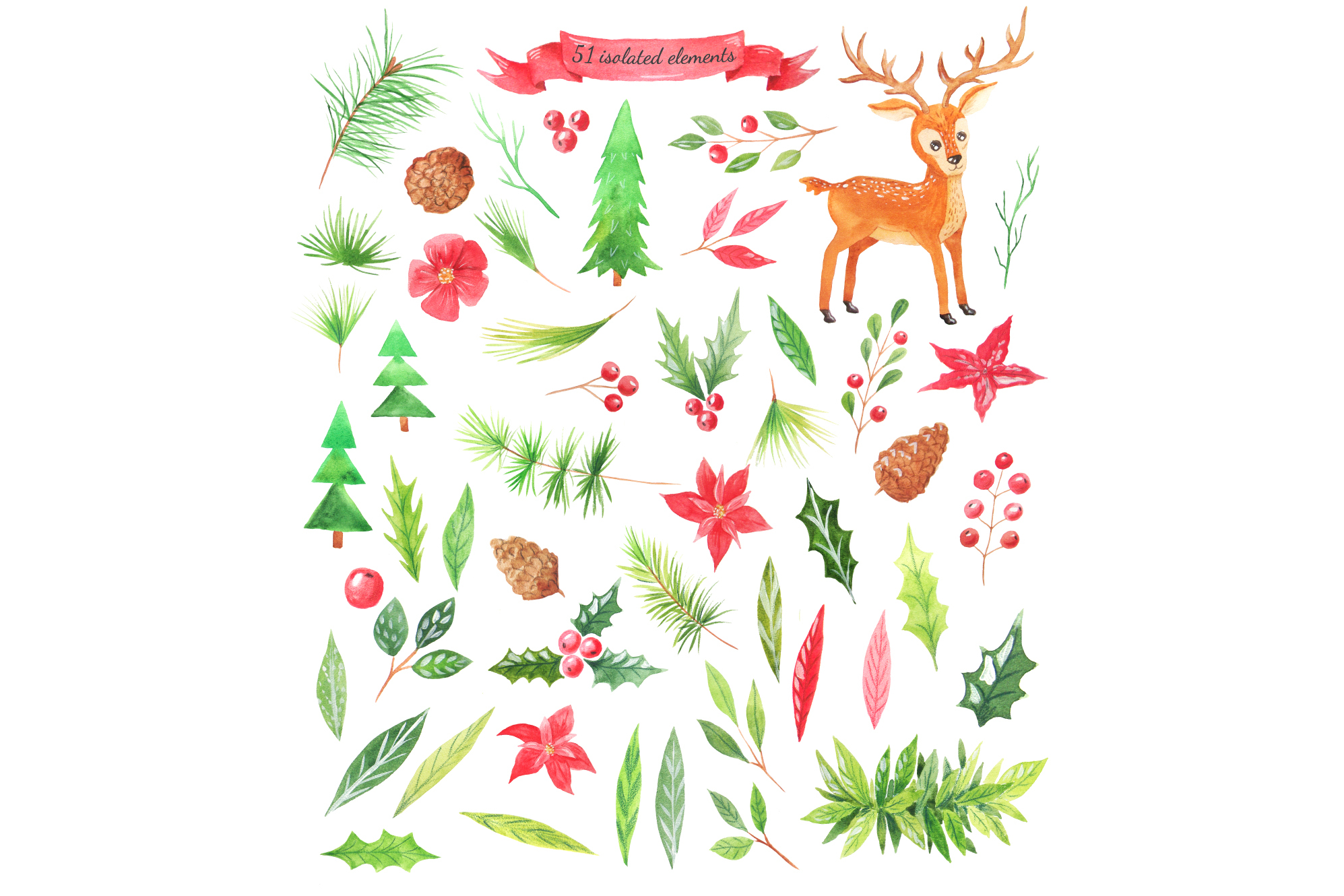 Watercolor Christmas Design Pack example image 2