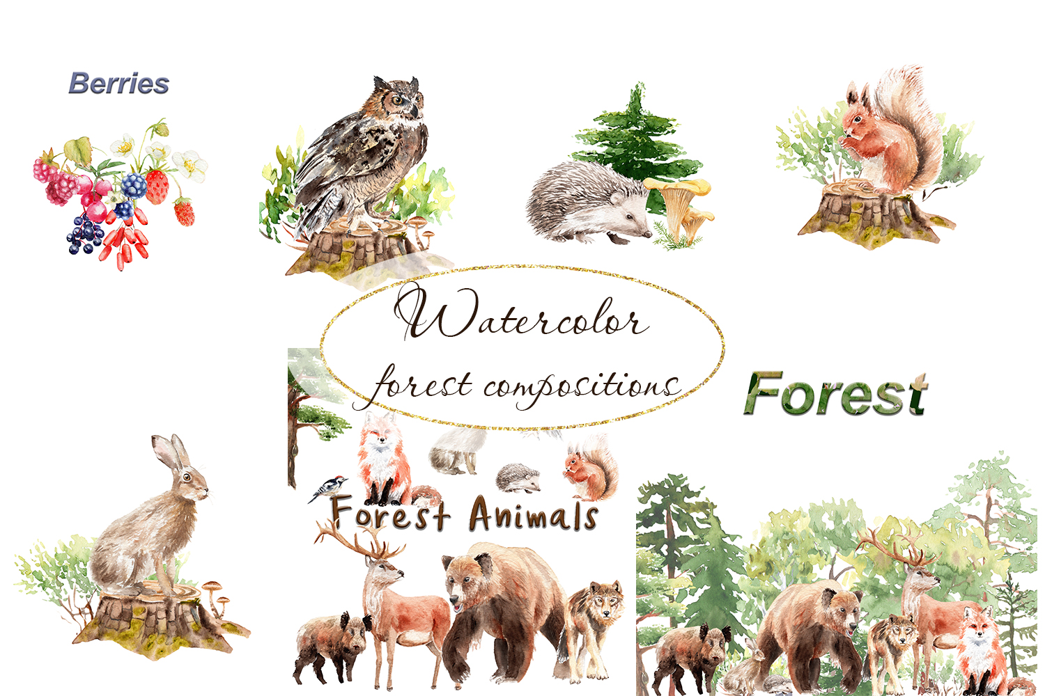 Watercolor forest example image 8