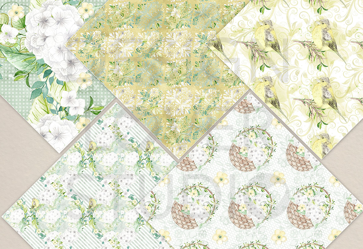 Watercolor White Hydrangea digital paper pack example image 3