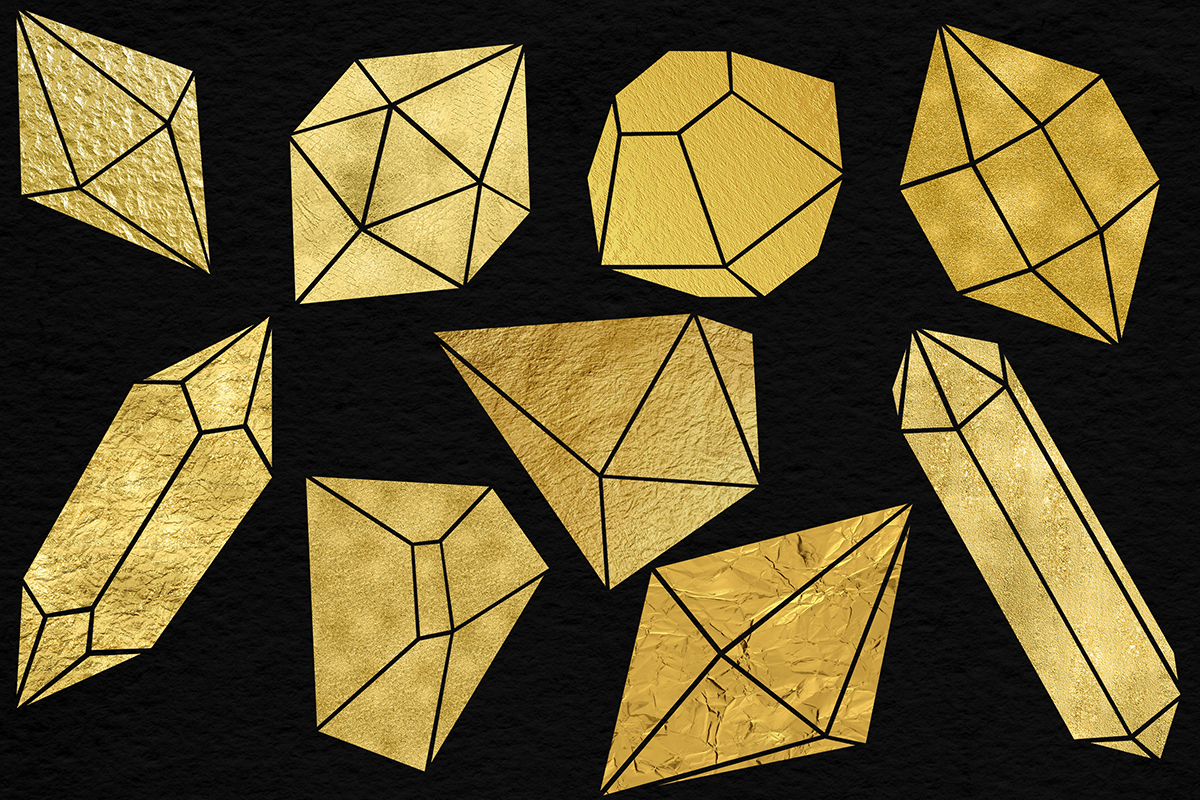 Shimmer Gold Crystals Clipart example image 3
