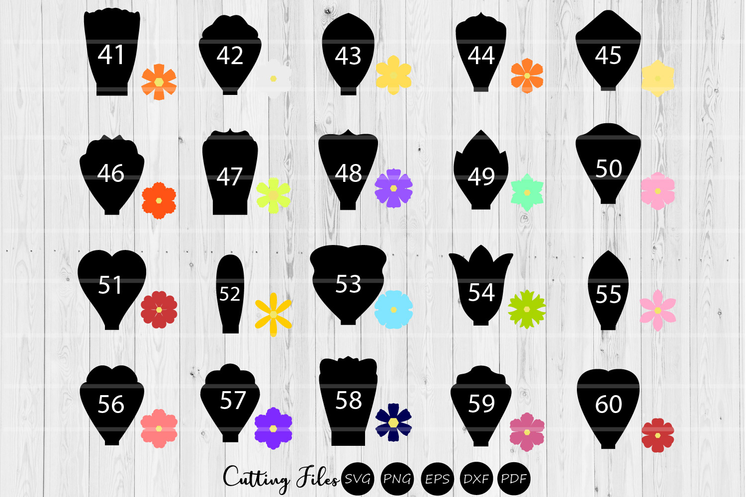 Paper Flowers Templates bundle 40 to 60|A1-40 | DIY projects example image 1