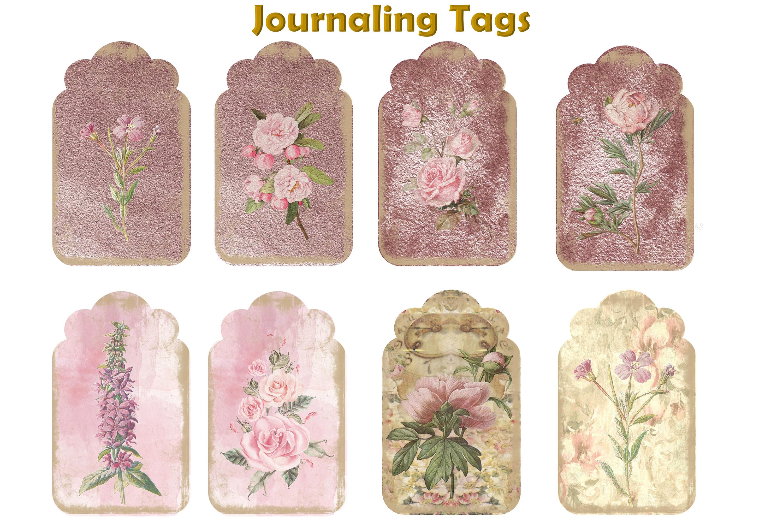 Journaling Kit Pink Botanicals with free ephemera & clipart example image 8