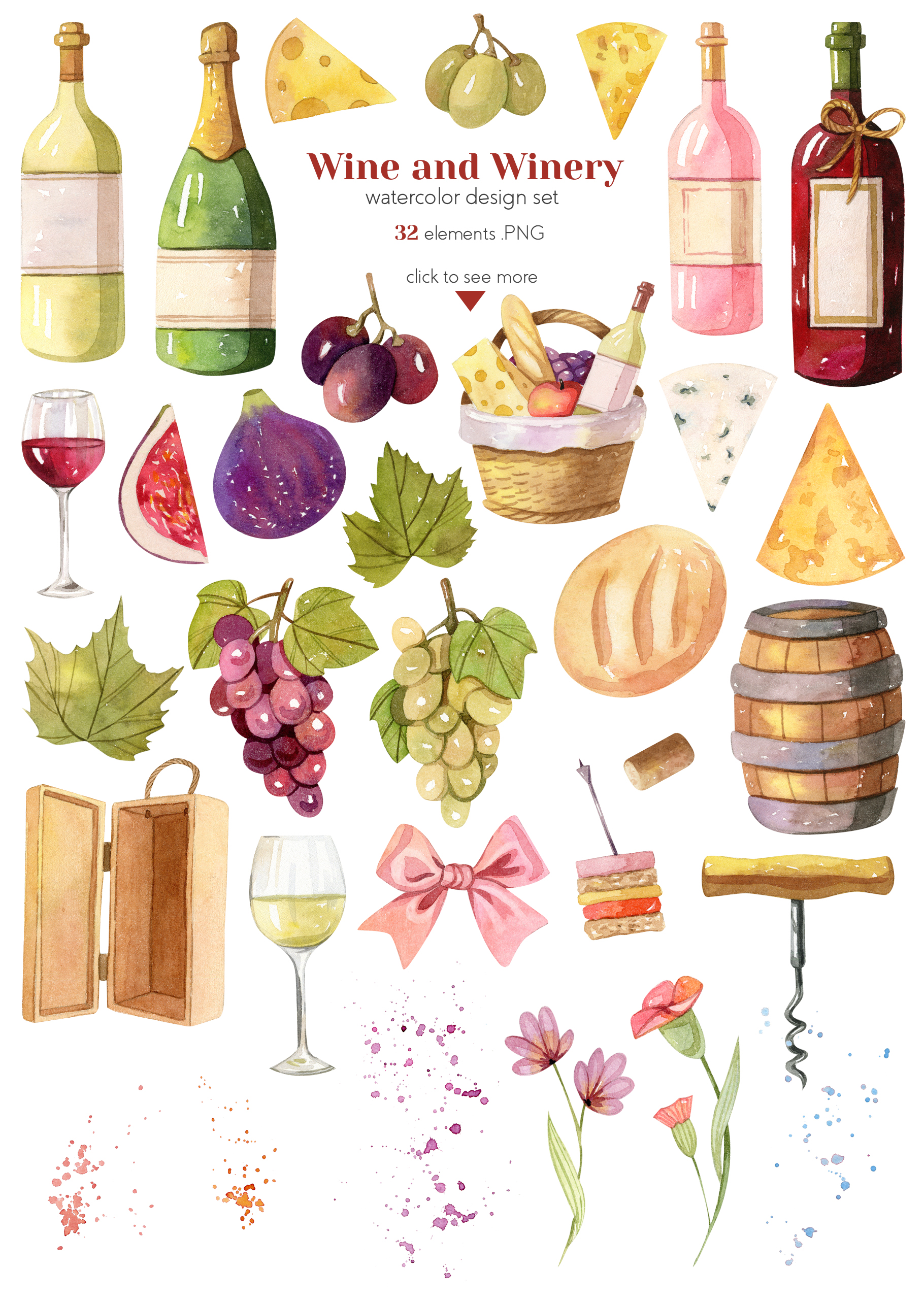 Watercolor Wine and Winery Collection example image 3