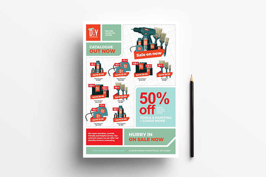 A4 DIY Tool Supply Advertisement Template example image 1