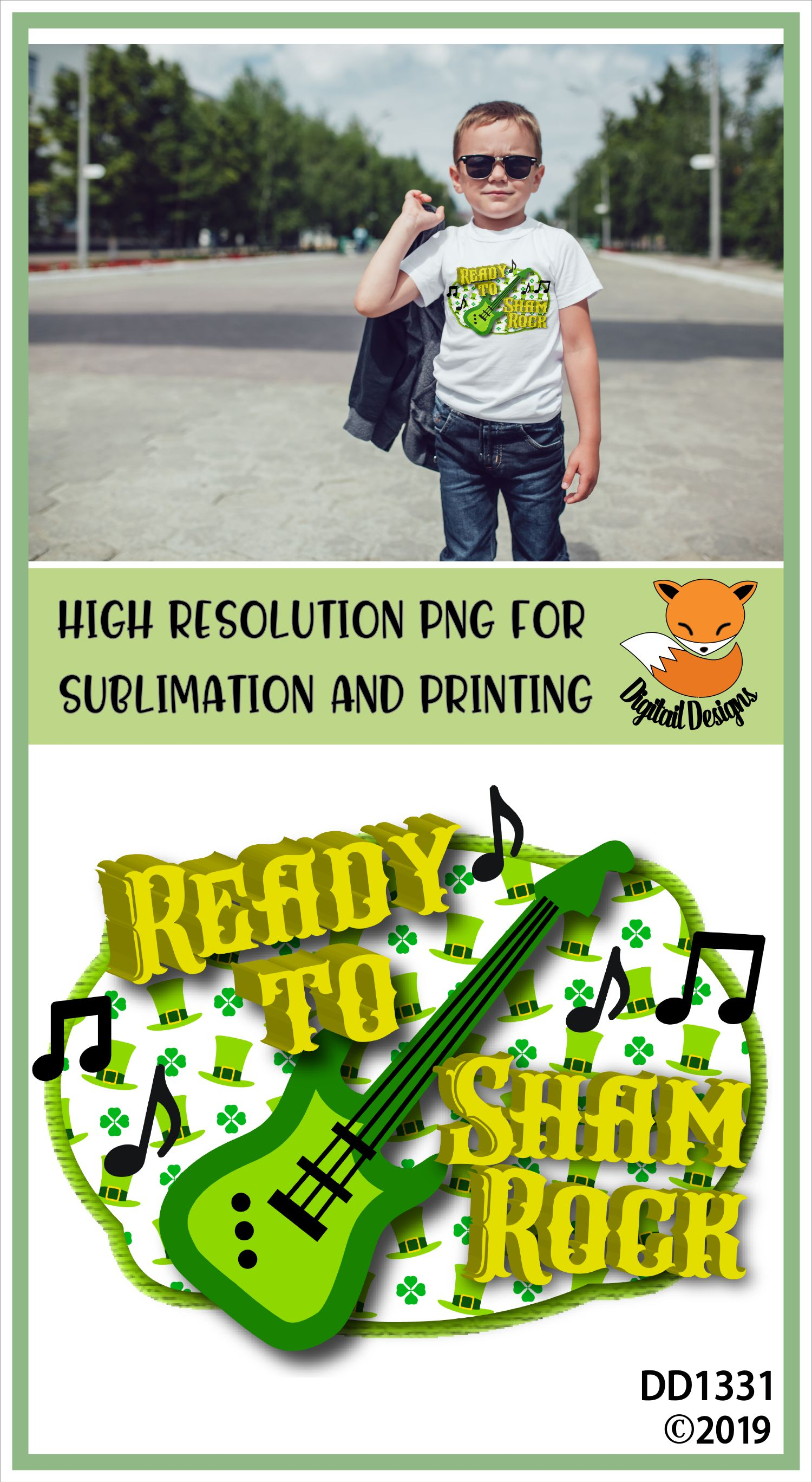 St Patrick's Day Ready To Shamrock Sublimation Printable example image 2