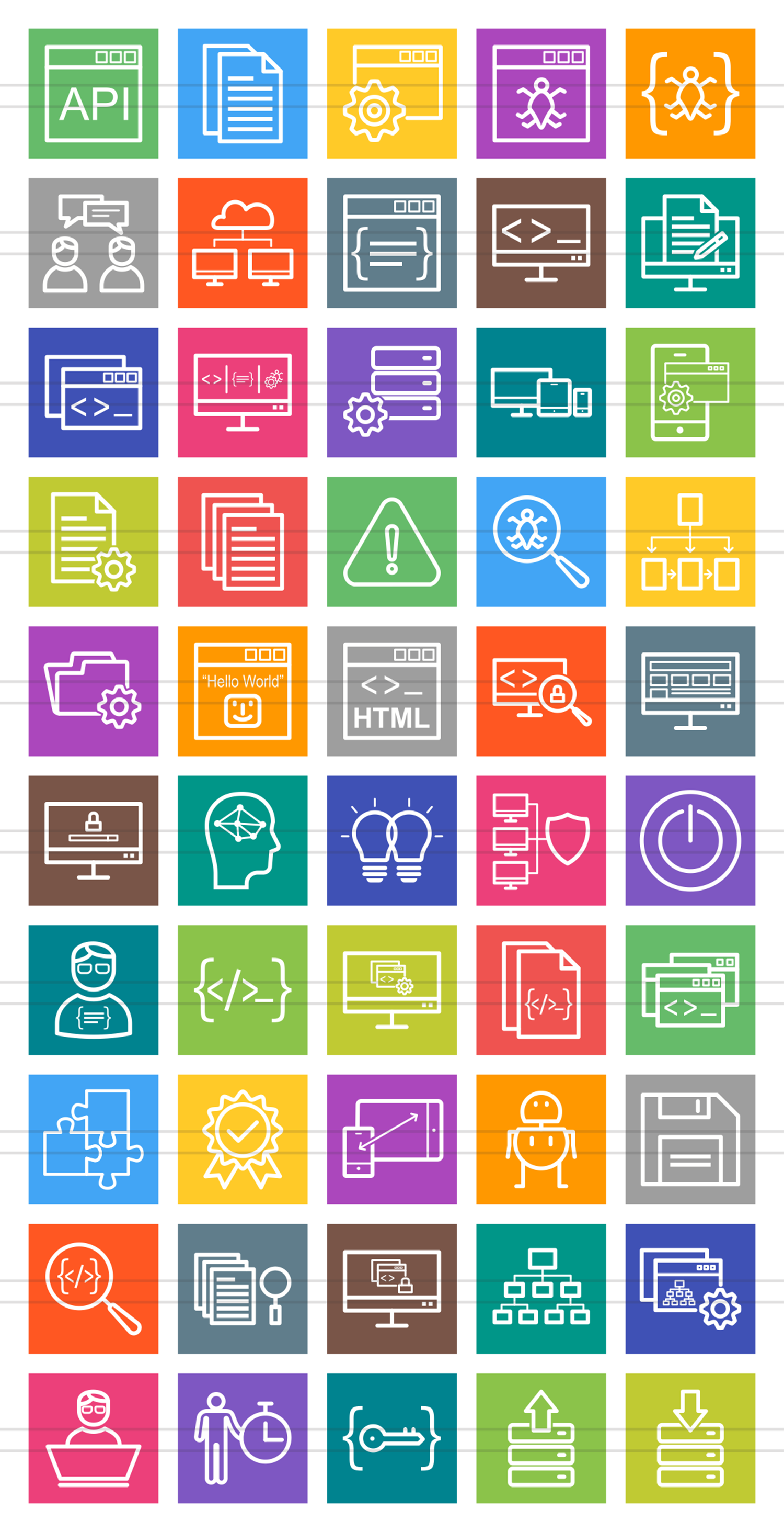 50 Software Development Line Multicolor B/G Icons example image 2