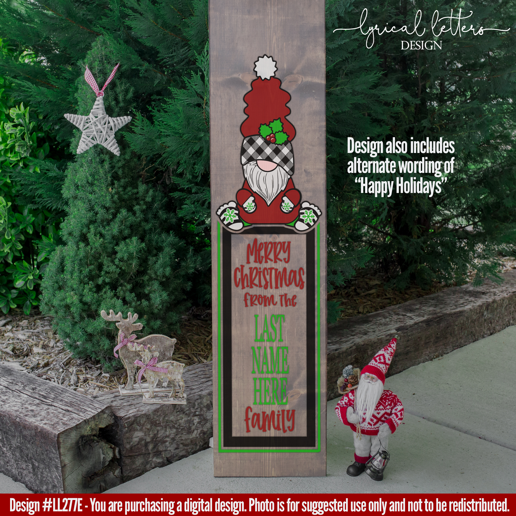 Merry Christmas Gnome Vertical Sign SVG Cut File LL277E example image 2