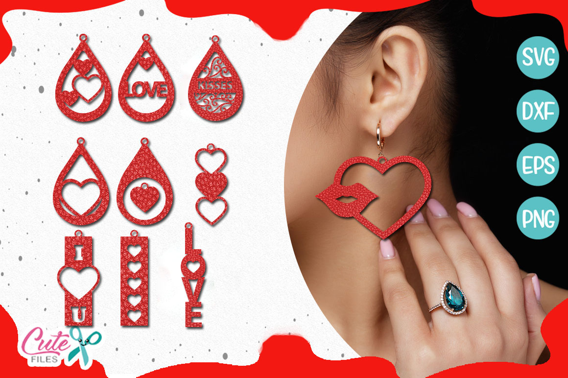Valentine's day earring templante bundle SVG example image 3