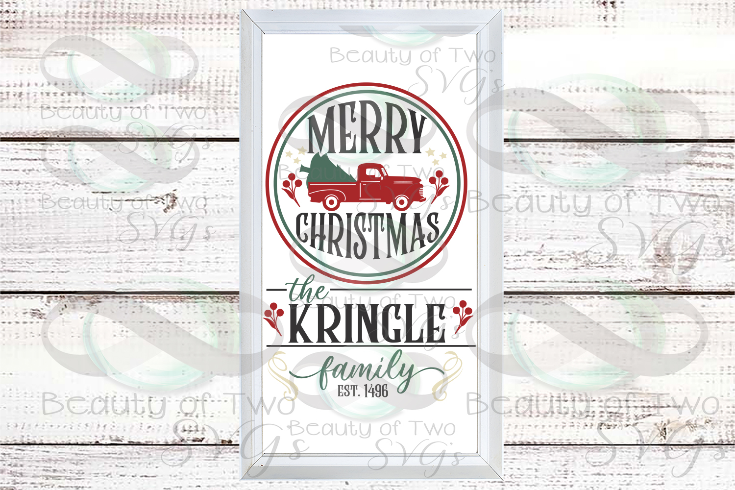 Customize Merry Christmas Vintage Truck Last Name sign svg example image 1