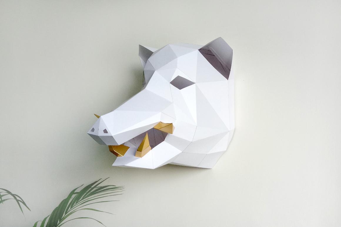 DIY Boar Trophy - 3d papercraft example image 5