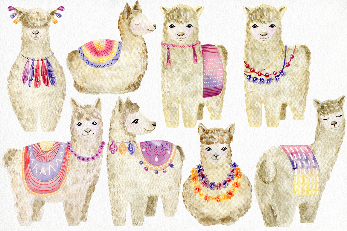 Watercolor llamas. Kit. example image 3