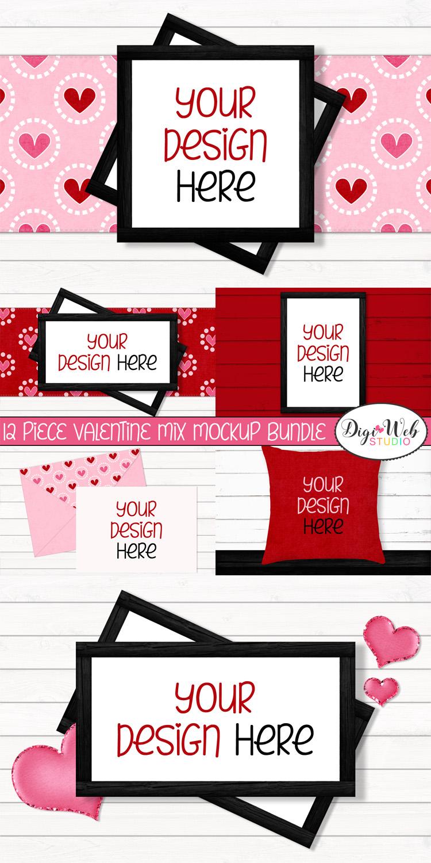 12 Valentine Mockups Bundle -Wood Signs, Pillows, Cards, Mug example image 14