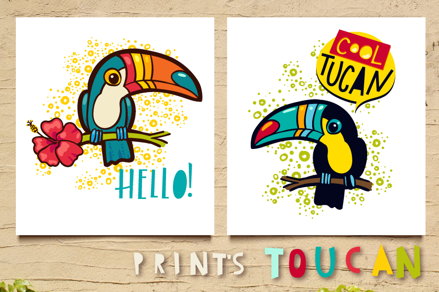 Tropical toucan prints on a t-shirt. example image 3
