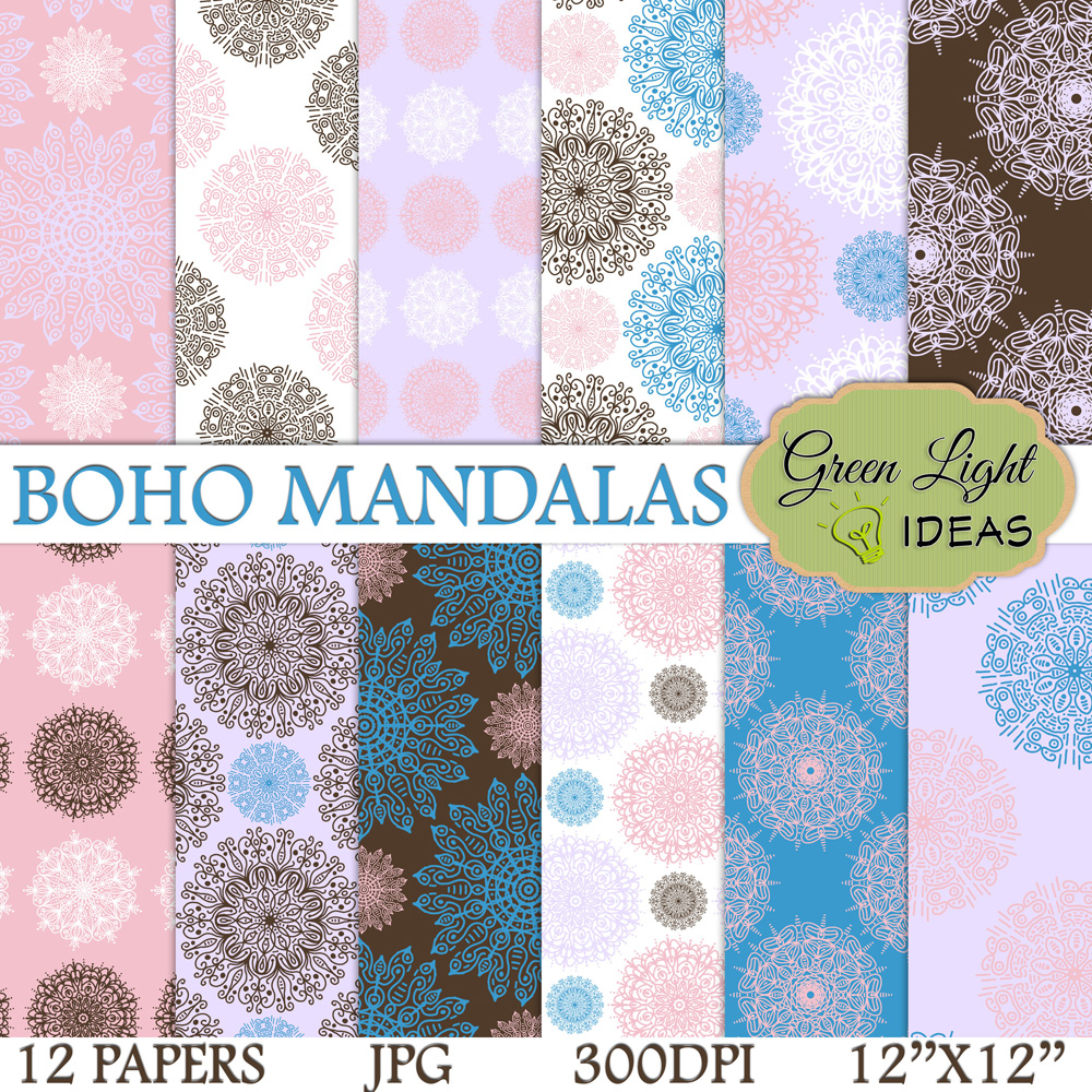 Boho Mandalas Digital Papers example image 1