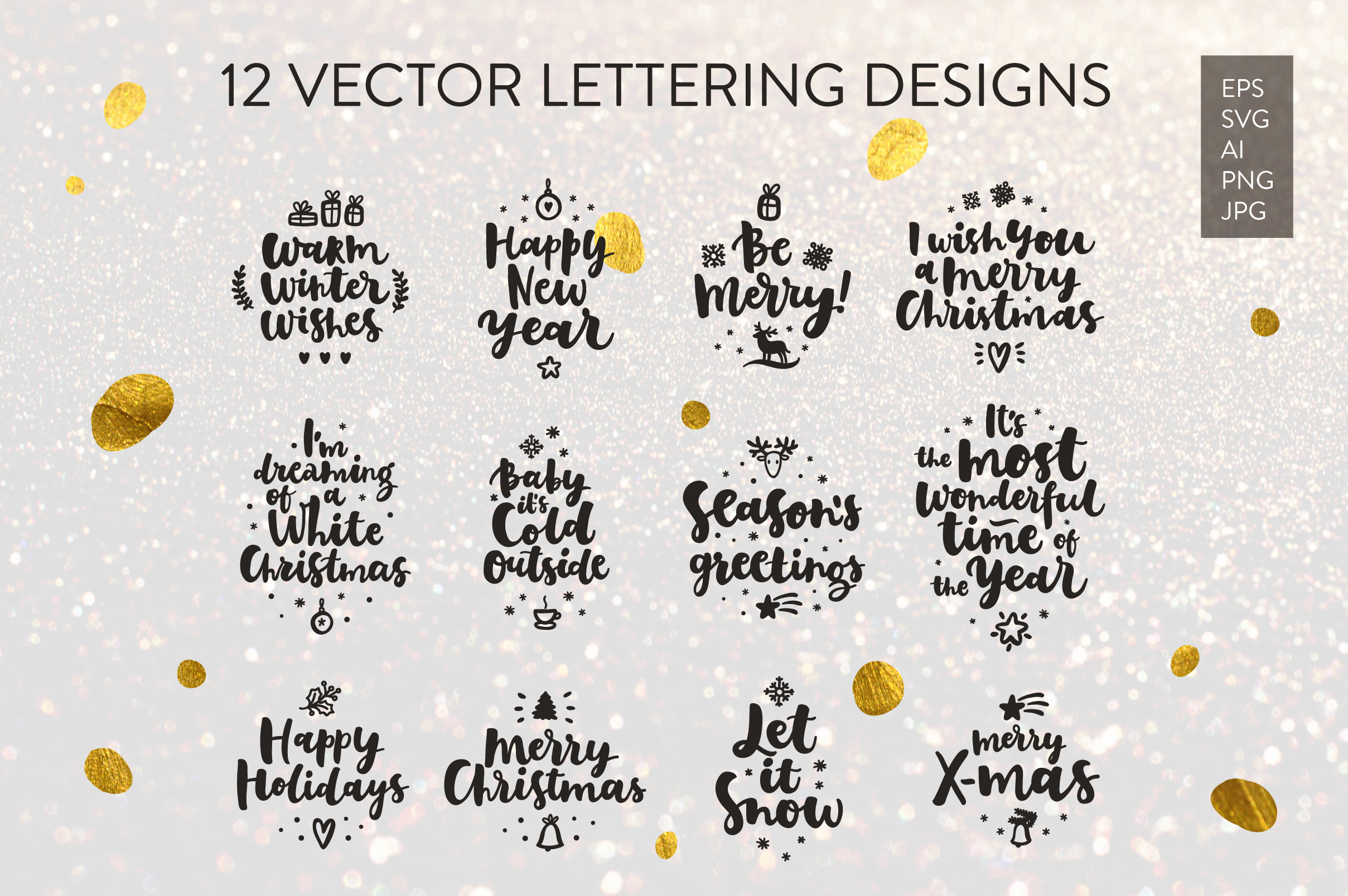 Merry Christmas Vector Set example image 2