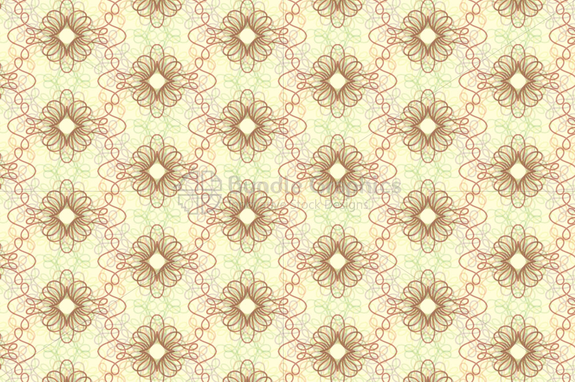 Linear Decorative Flowers - Seamless Background example image 1