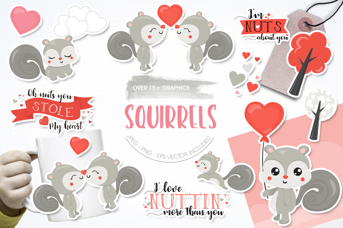 Squirrels graphic and illustrations example image 1