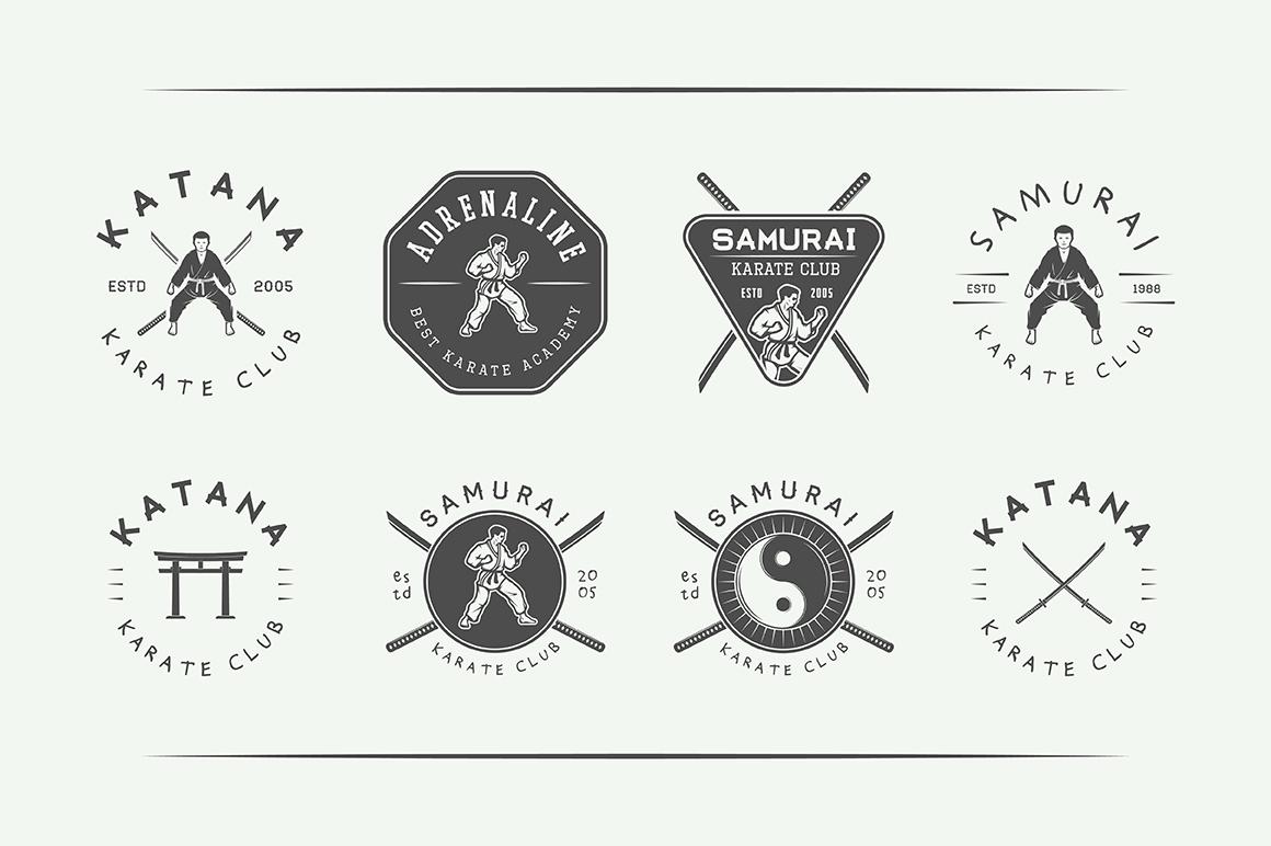 Vintage Karate Emblems Bundle example image 7