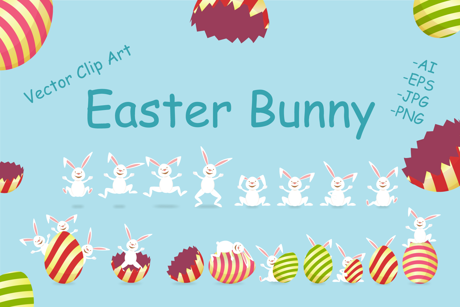 Easter Bunny and Egg Clip Art example image 1