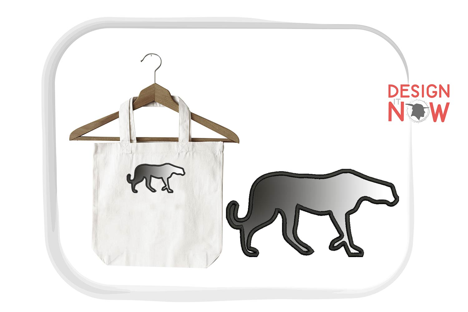 Panther Applique Embroidery Design, Puma Embroidery Pattern example image 3