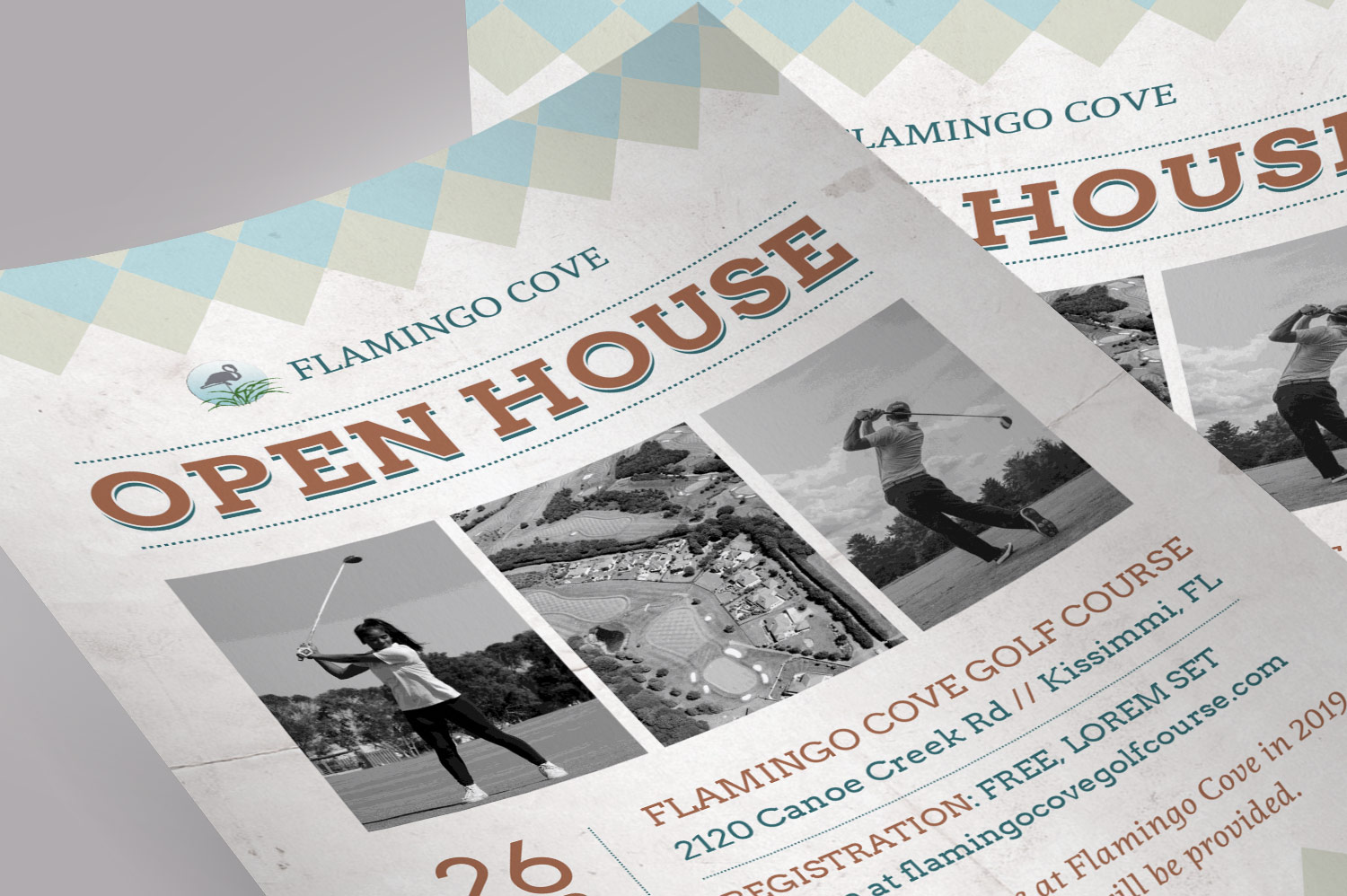 Retro Golf Open House Flyer Word example image 5