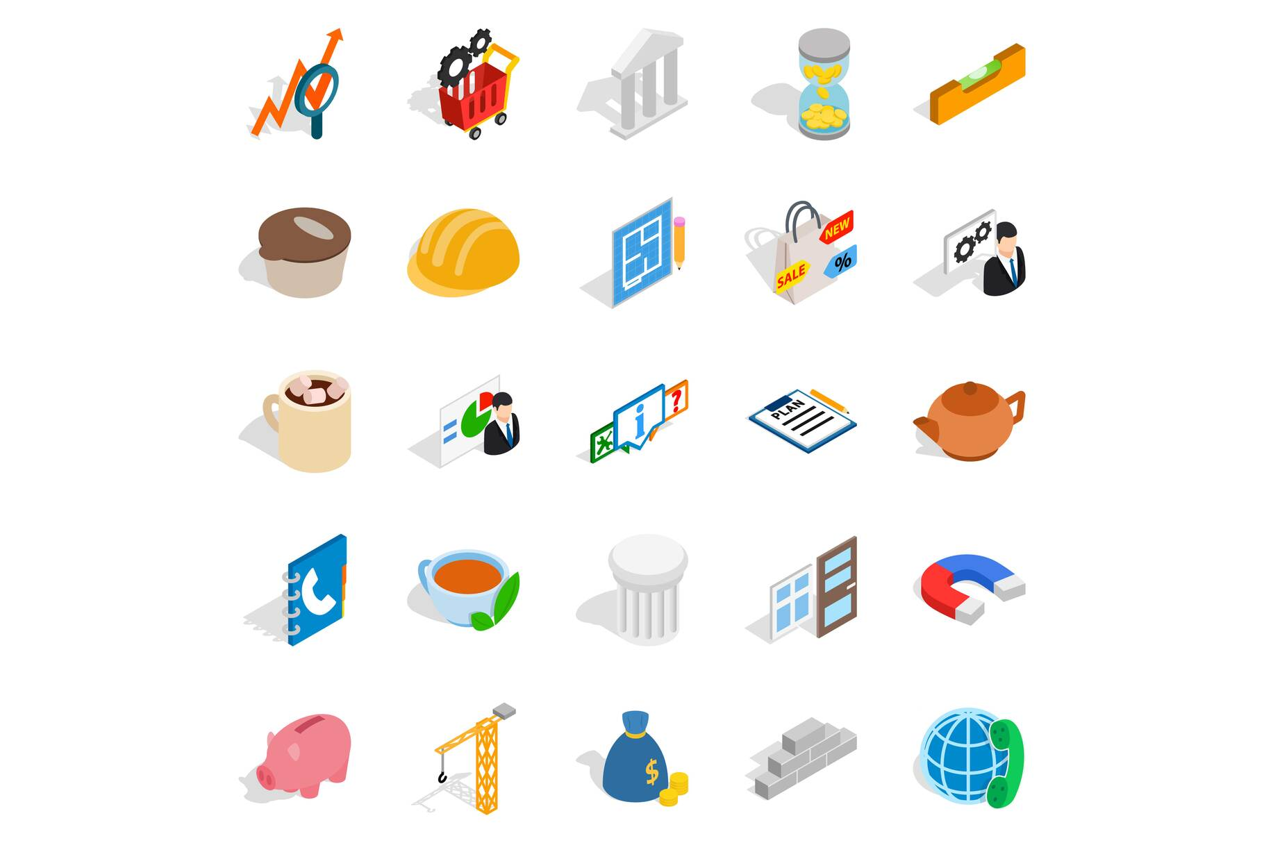 Commerce icons set, isometric style example image 1