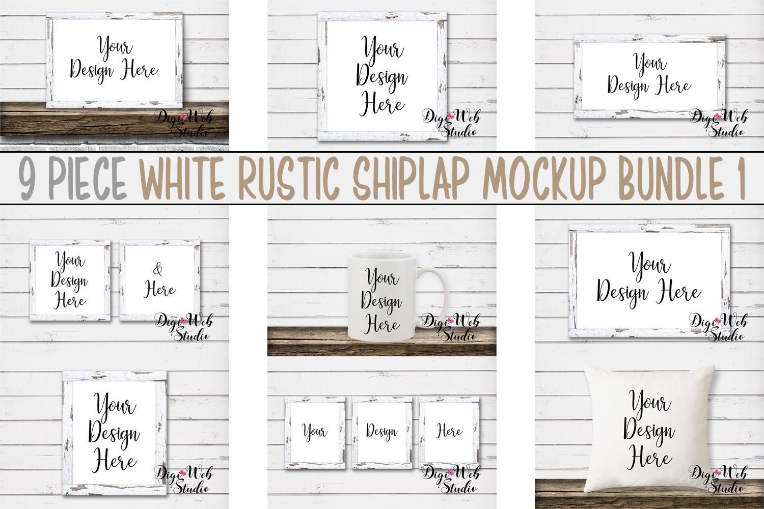 Mockup Bundle -White Rustic Shiplap Wood Signs, Pillow & Mug example image 1