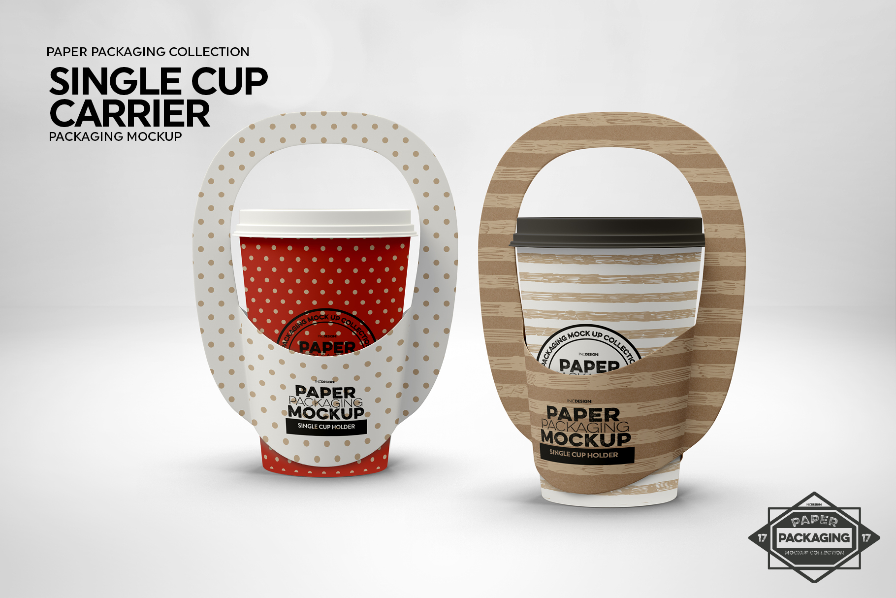 Single Cup Paper Carrier Packaging Mockup example image 4