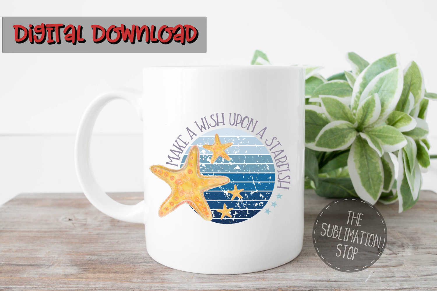 Wish Upon A Starfish - PNG File - Sublimation Design example image 2