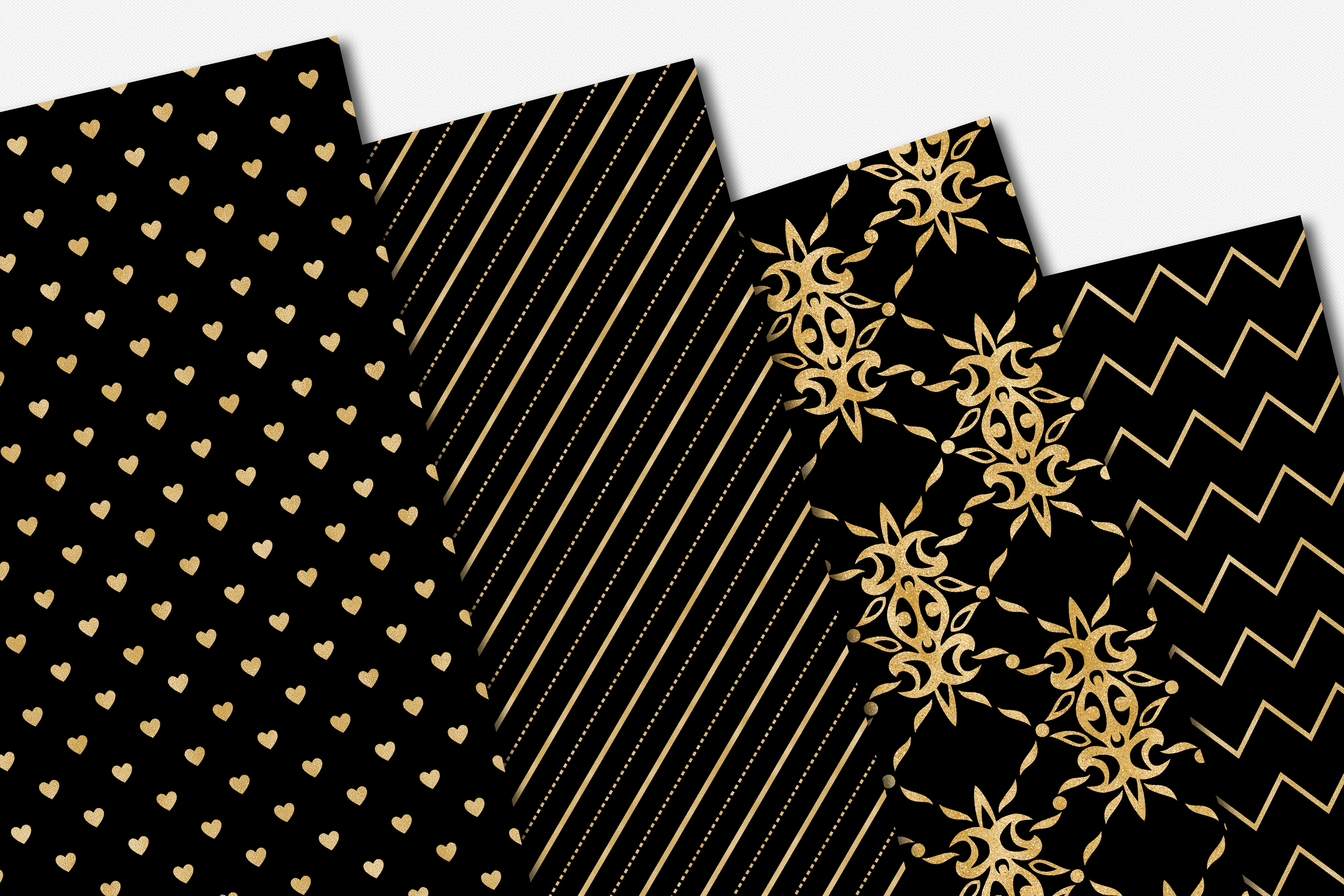 Black and Gold Seamless Papers - Damask & Geometric Patterns example image 7