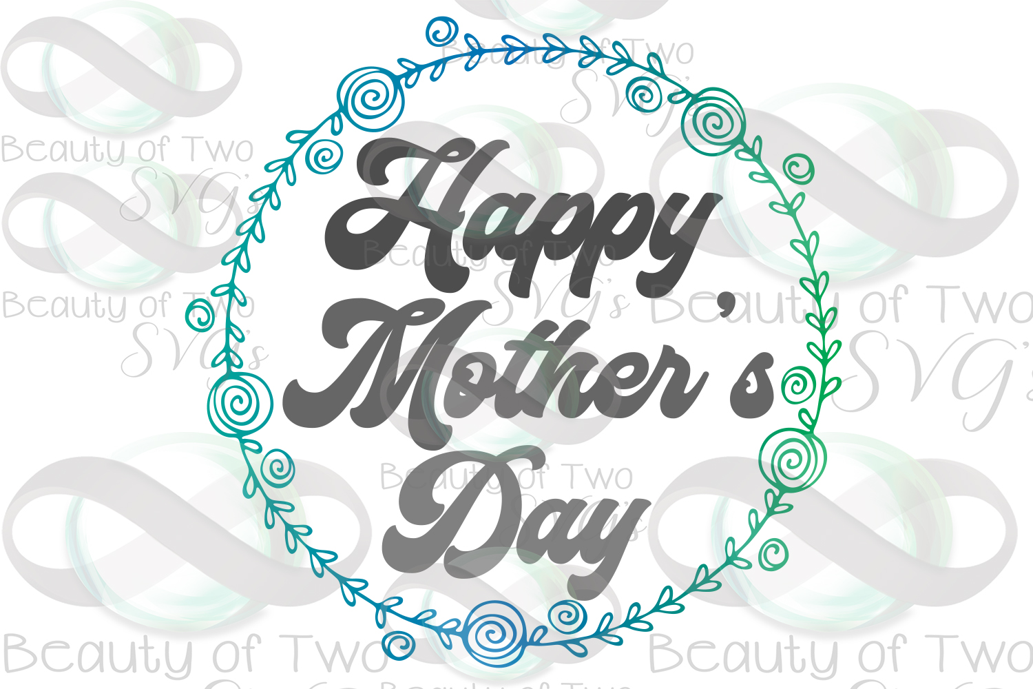 Mothers Day svg, Happy Mother's Day wreath svg, Mom svg example image 3
