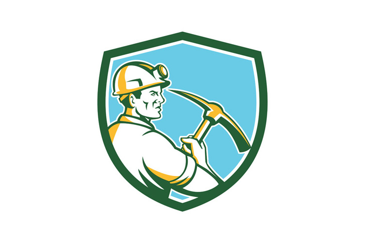 Coal Miner Hardhat With Pick Axe Side Shield Retro example image 1