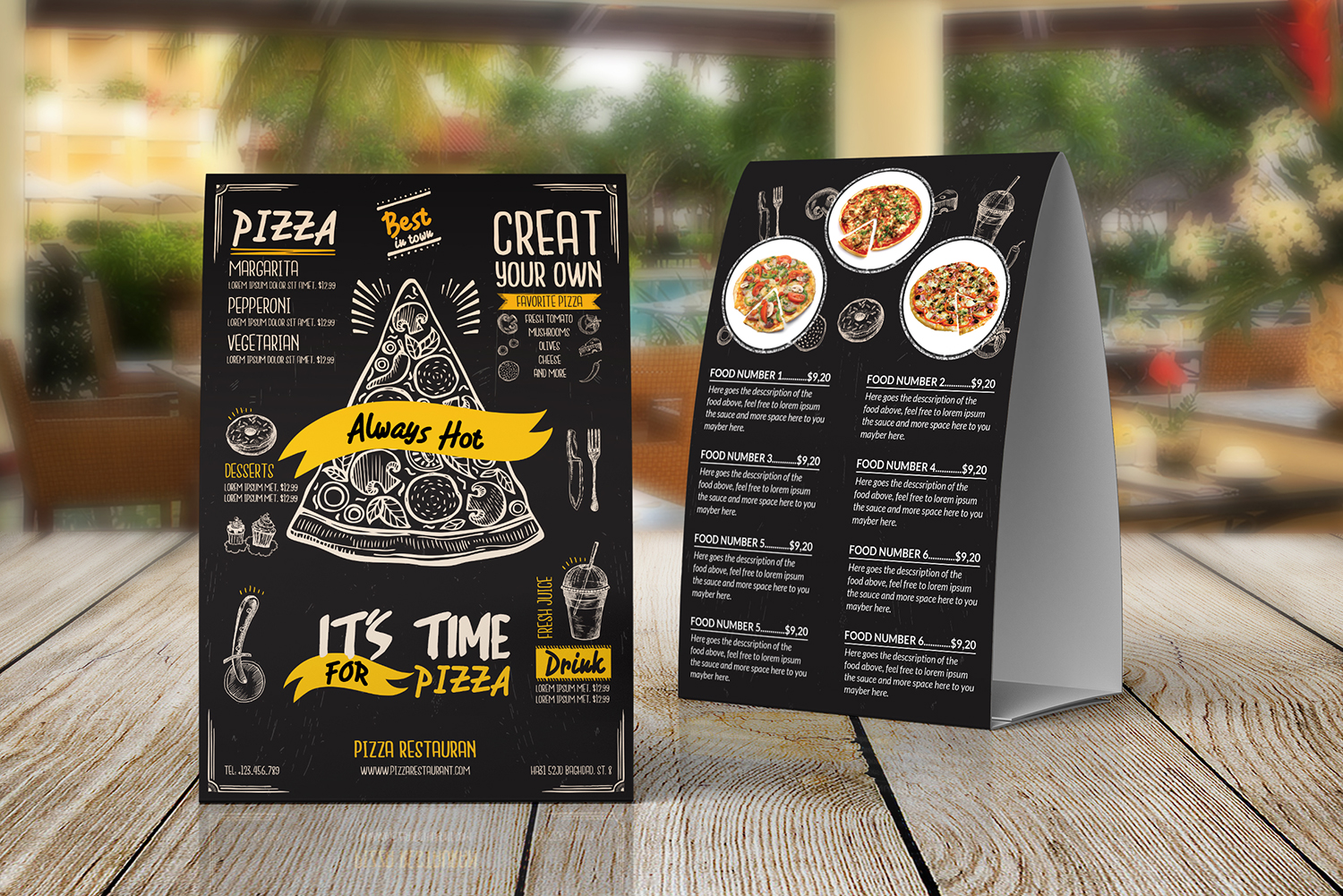 Pizza Food menu Table Tent Template example image 1