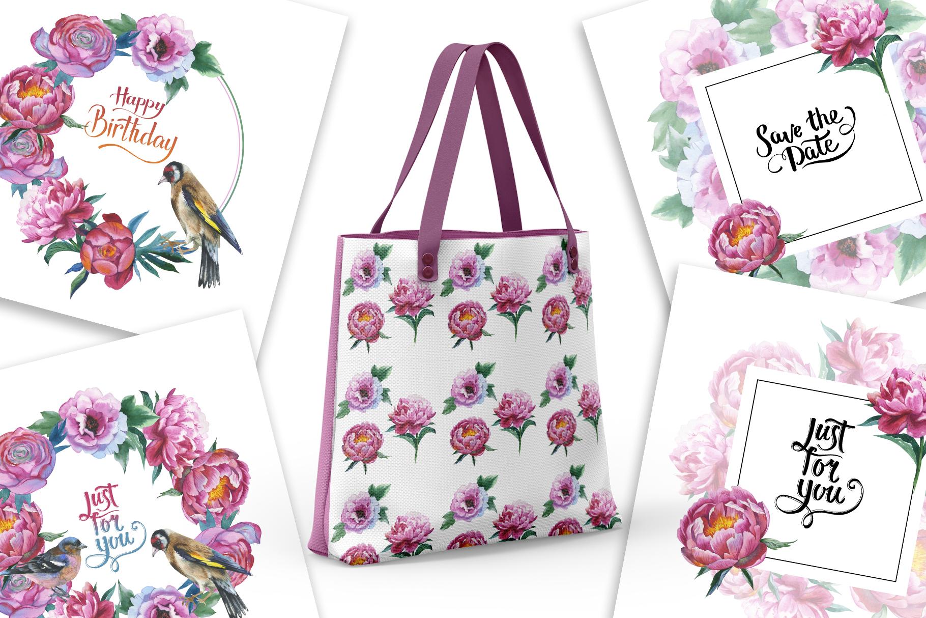 Colorful peonies JPG watercolor flower set  example image 7