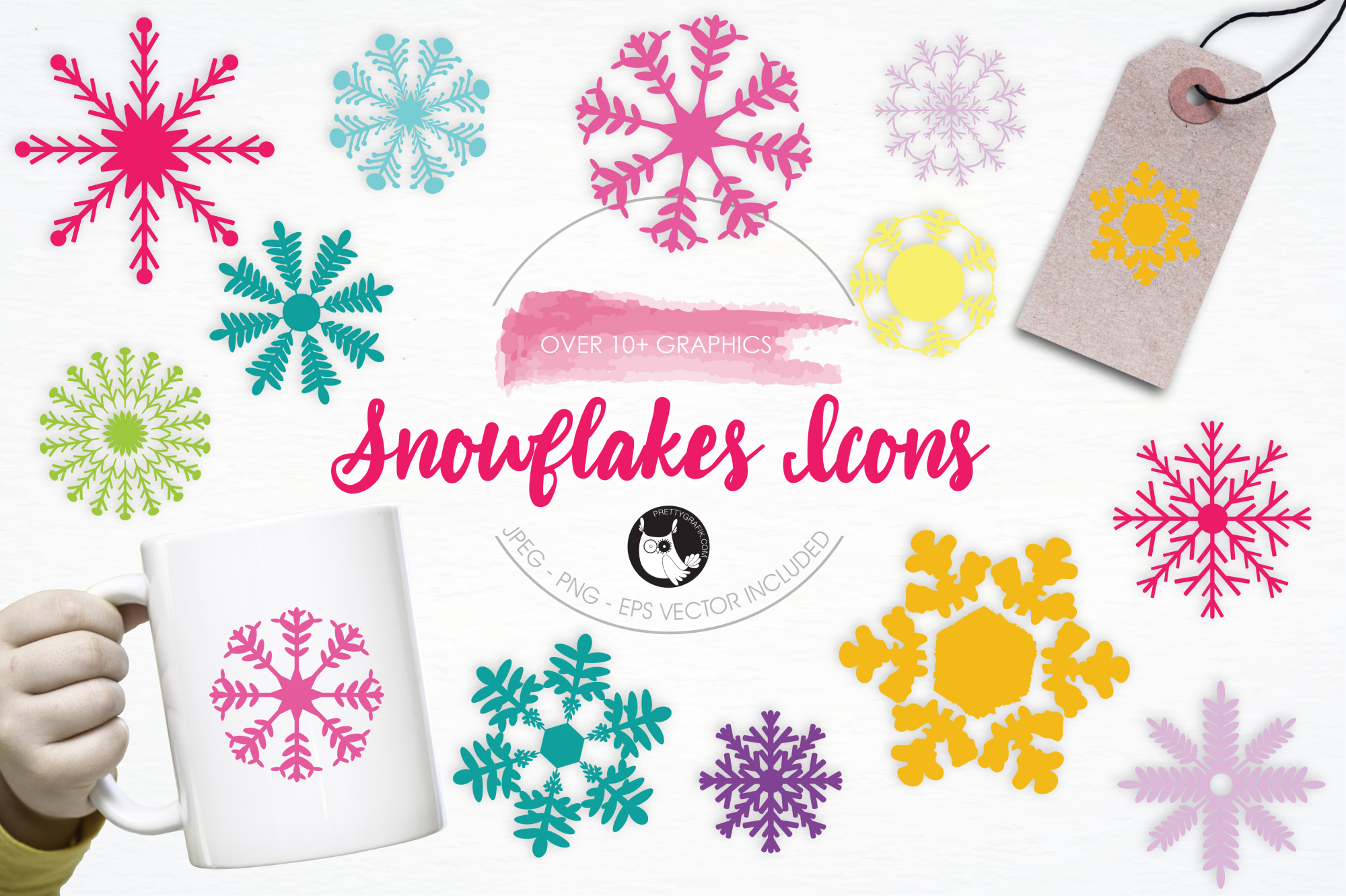 Snowflakes Icons graphics and illustrations example image 1