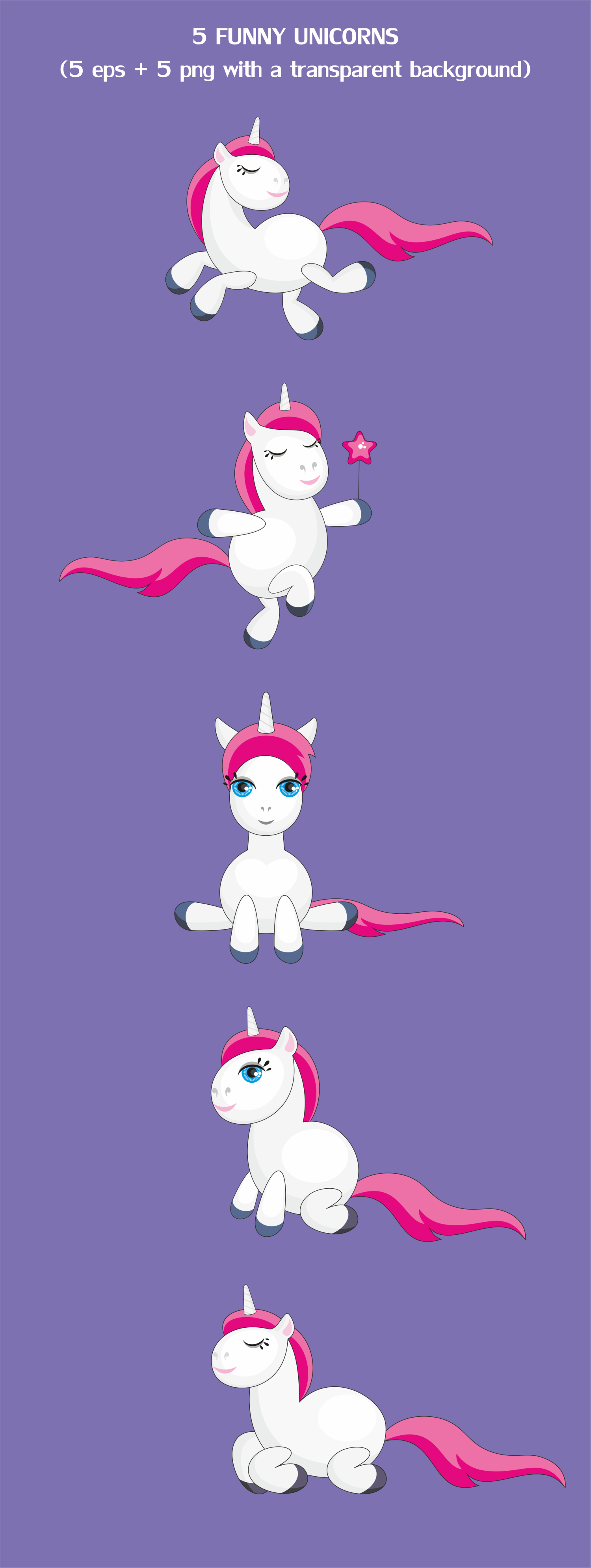 Funny unicorns. Vector clipart and seamless patterns. example image 2