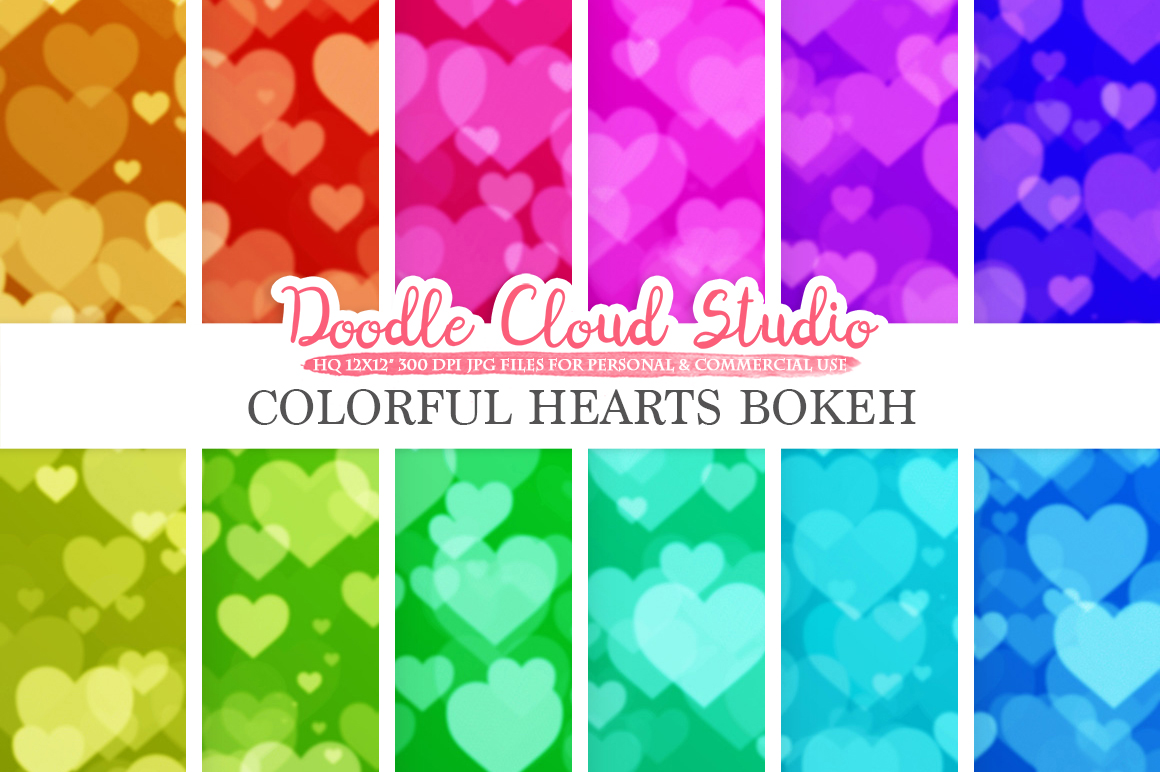Colorful Hearts Bokeh digital paper, Colorful Bokeh Overlay, Rainbow Heart Bokeh backgrounds, Instant Download for Personal & Commercial Use example image 1