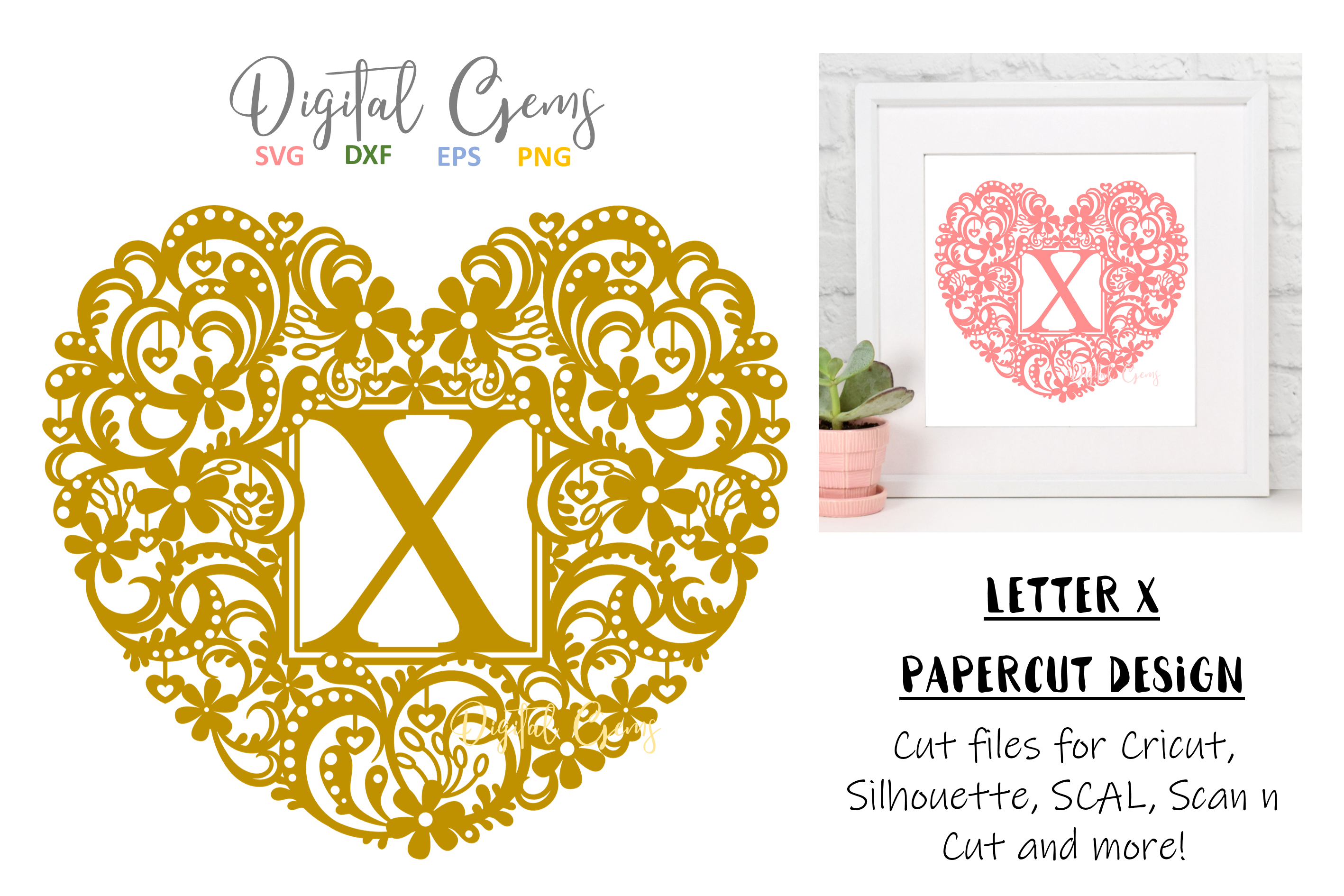 Letter X paper cut design. SVG / DXF / EPS / PNG files example image 1