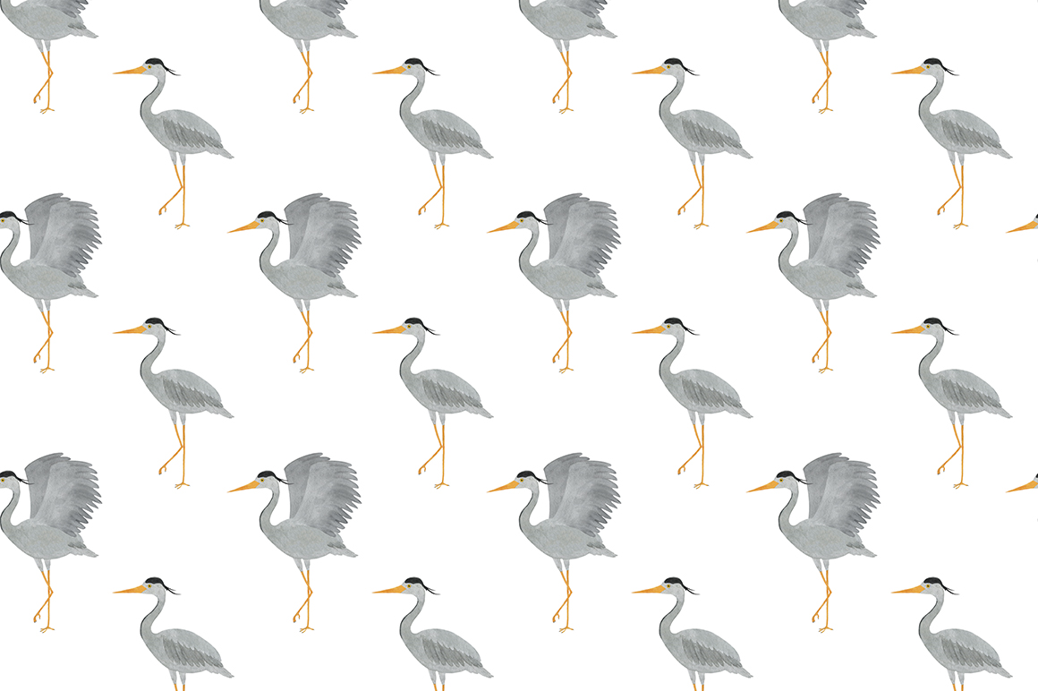Set of heron watercolor illustrations example image 9