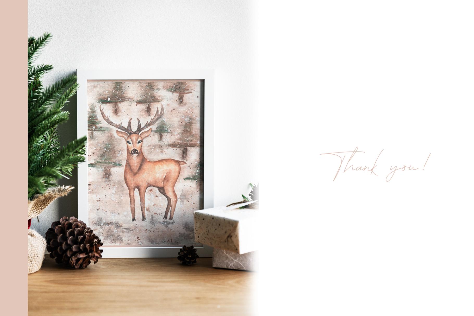Watercolor winter deer cards example image 4