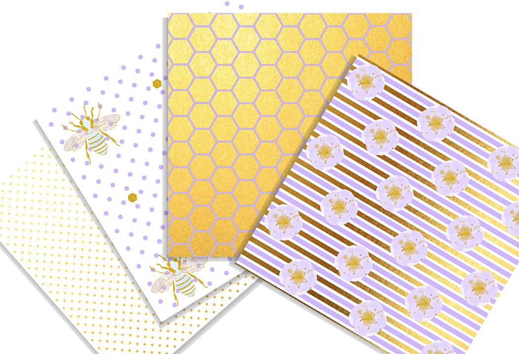 Honey bee digital paper pack. 12x12 inches example image 3