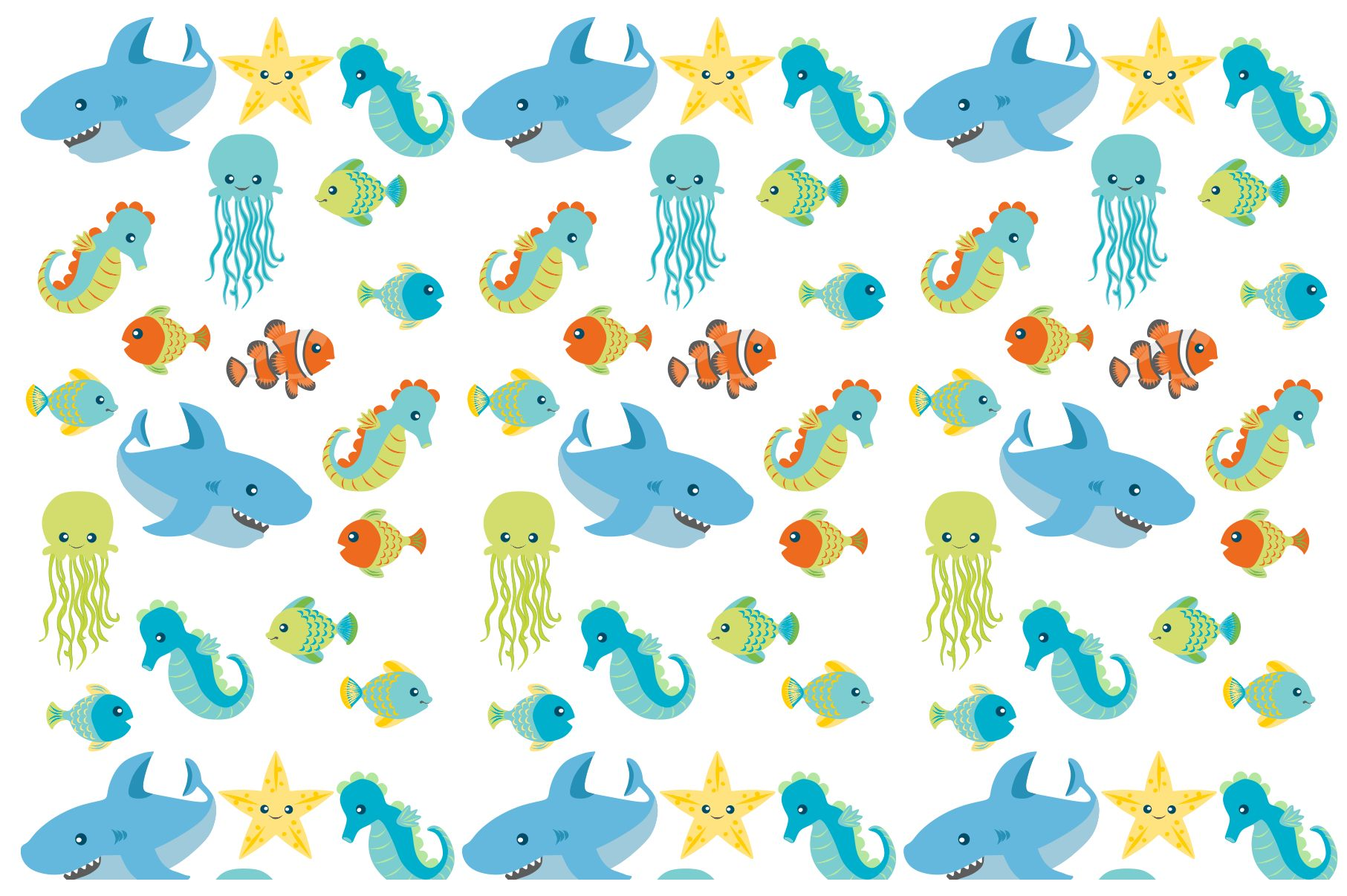 Sea Animal Clipart and Digital Papers Set example image 7