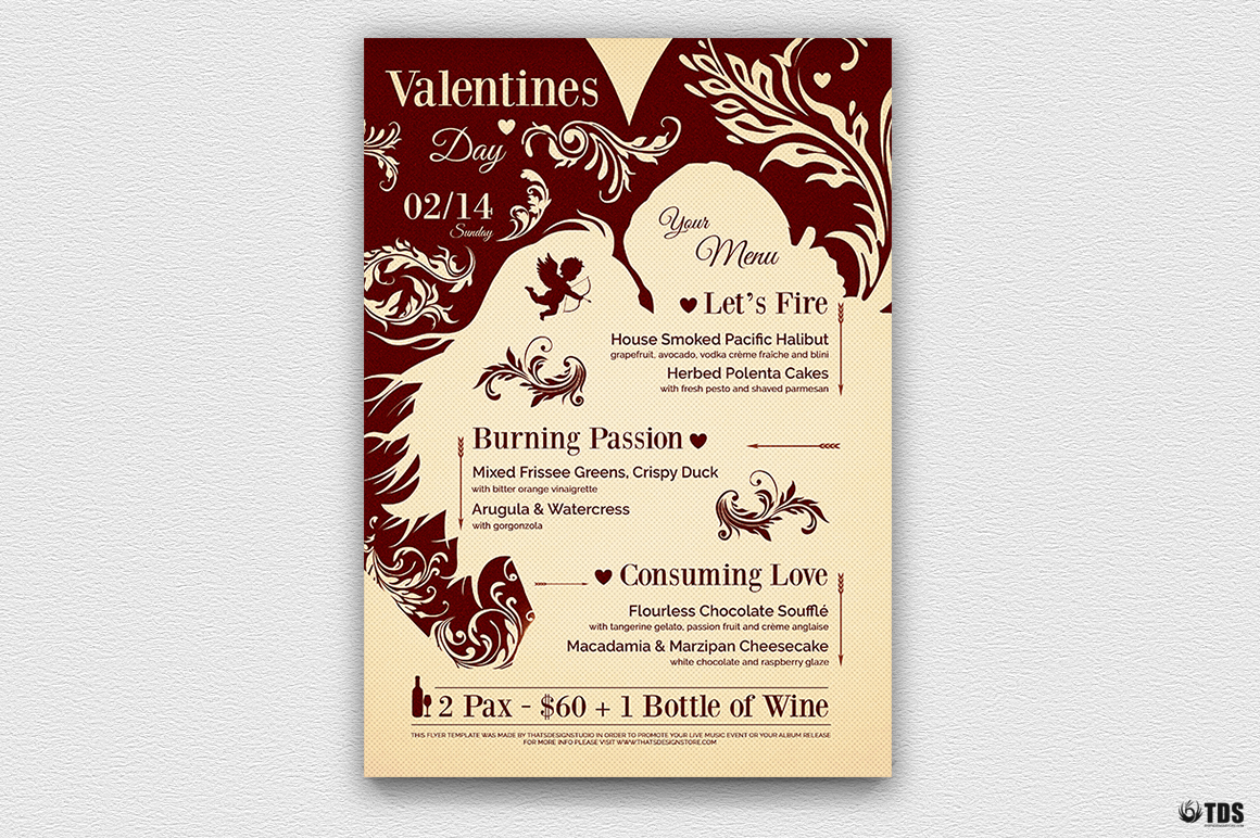 Valentines Day Menu Template V6 example image 3